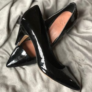 Vince Camuto Black Patton Leather Heels